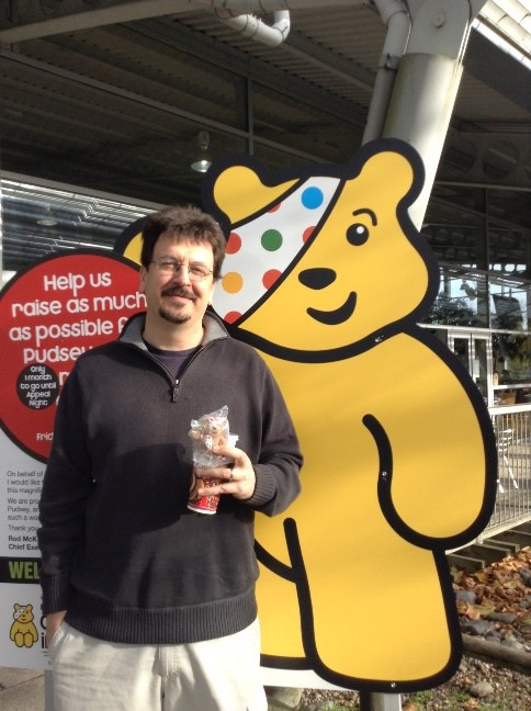 Bear with another bear, Pudsey, the representative of the Children in Need charity.