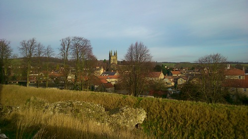 View of the Helmsley town from the castle hill